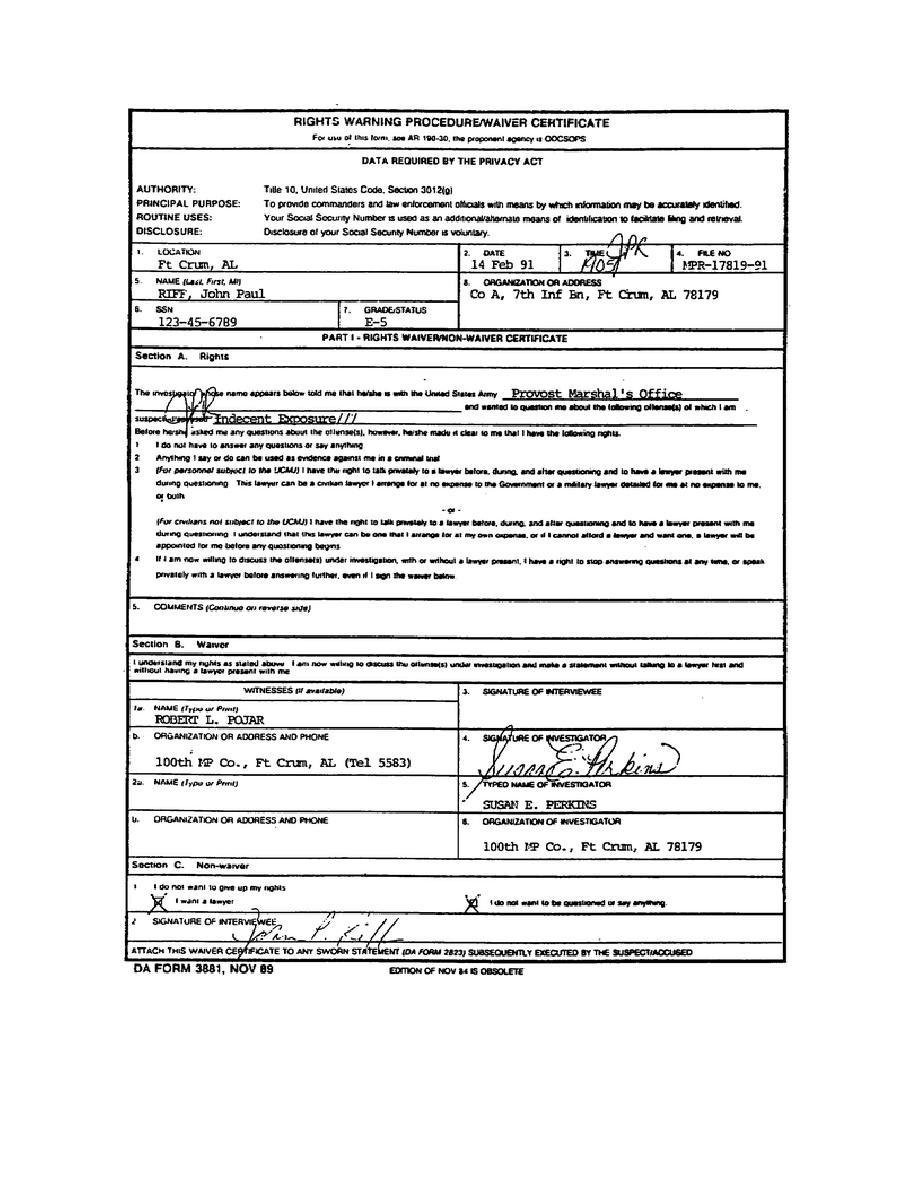 Figure 1-3. DA Form 3881, Warning Procedure/Waiver Certificate ...