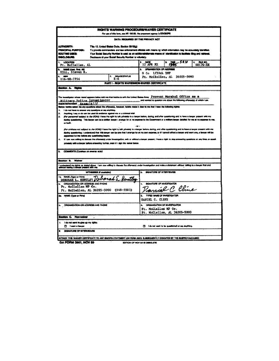 Figure 2-4. Rights Warning Procedure/Waiver Certificate.