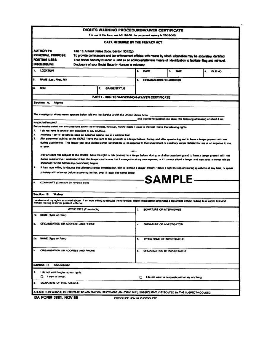 Figure 3-1. DA Form 3881 (front).