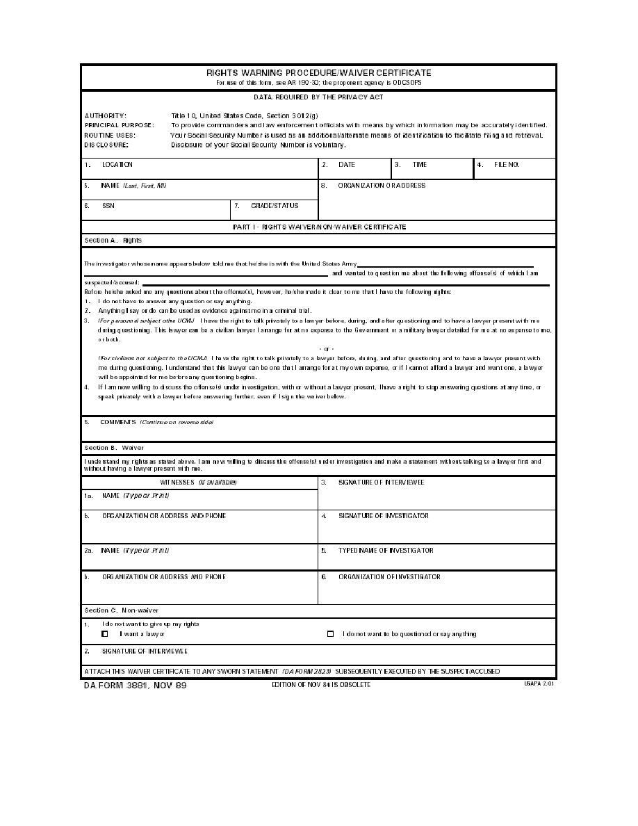 Figure 1. DA Form 3881, Rights Warning Procedure/Wavier Certificate