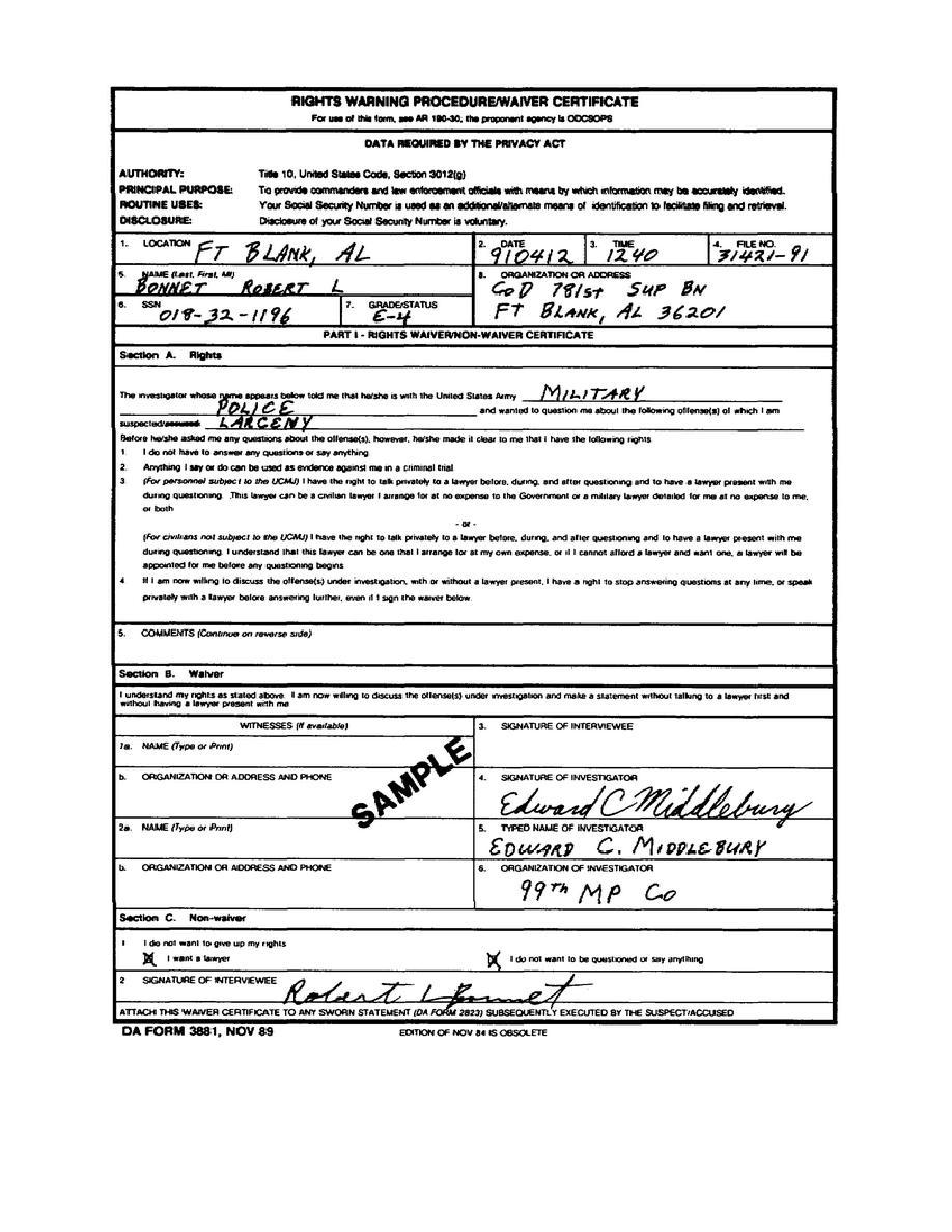 Figure 1-8. DA Form 3881, Rights Warning Procedure/Waiver ...