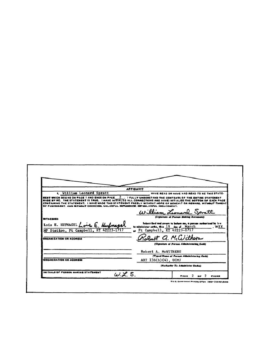 Affidavit Of DA Form 2823.