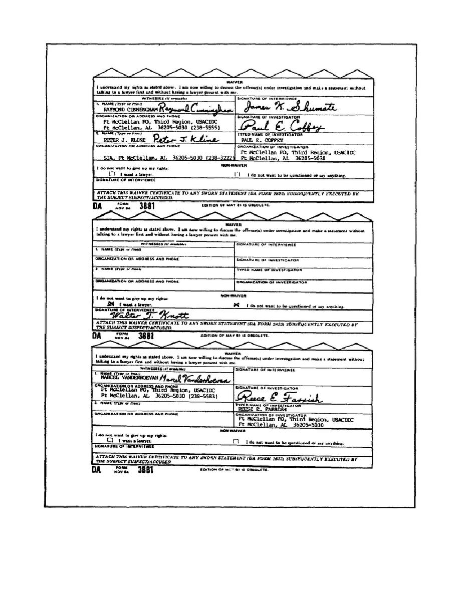 Figure 3-9. Waiver Sections of DA Form 3881.